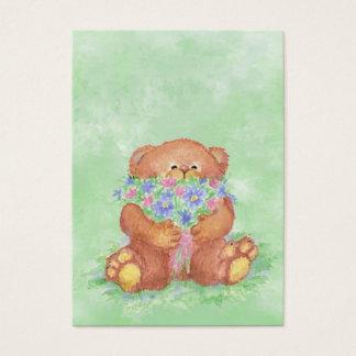 ACEO ATCteddy-Bärn-Blumenstrauß-BlumeWatercolor Visitenkarte