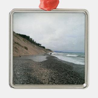 Achatstrand 2 quadratisches silberfarbenes ornament
