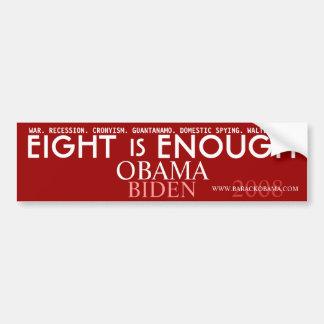 Acht ist GENUG - politischer Autoaufkleber Obama