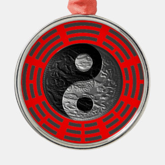 Acht Trigrams Yin Yang Prägen Ähnlicher Drache Silbernes Ornament