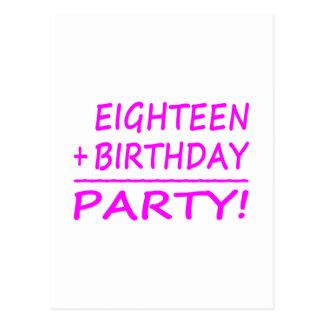 Achtzehnte Geburtstage: Achtzehn + Geburtstag = Postkarte