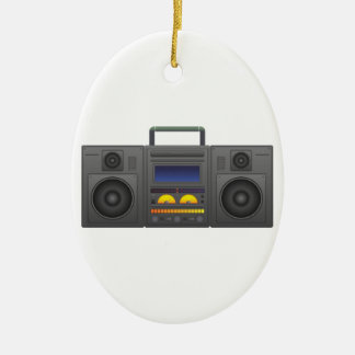 Achtzigerjahre angesagte Hopfenart Boombox Ovales Keramik Ornament