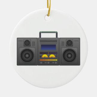 Achtzigerjahre angesagte Hopfenart Boombox Rundes Keramik Ornament
