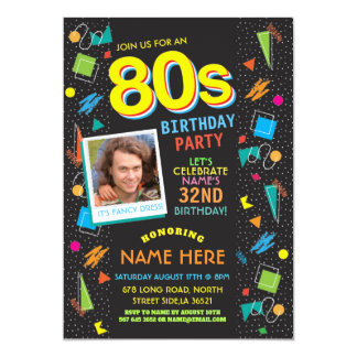 Achtzigerjahre Geburtstags-Party-Jahrachtziger Karte