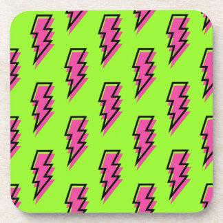 Achtzigerjahre/Neunzigerjahre grünes u. rosa Getränkeuntersetzer