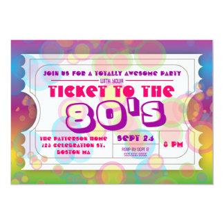 Achtzigerjahre Party-Karten-Aufnahme-Einladung