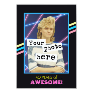 Achtzigerjahre Retro Art-Foto-Party-Mitteilung Karte