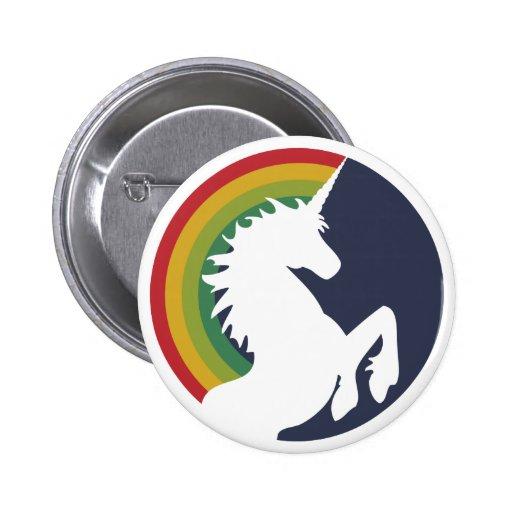 Achtzigerjahre Retro Einhorn und Regenbogen-Knopf Anstecknadel