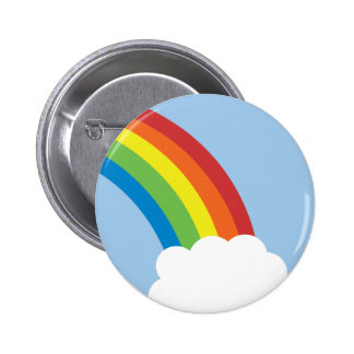 Achtzigerjahre Retro Regenbogen-Knopf Runder Button 5,7 Cm