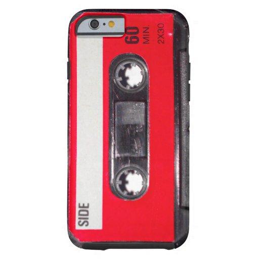 Achtzigerjahre rote Aufkleber-Kassette Tough iPhone 6 Hülle