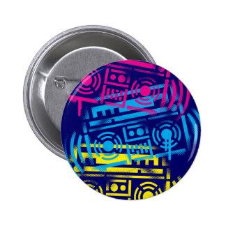 Achtzigerjahre SchablonenBoomboxes Runder Button 5,7 Cm