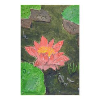 Acryl auf Leinwand, rosa Wasserlilie und Briefpapier