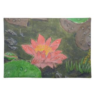 Acryl auf Leinwand, rosa Wasserlilie und Stofftischset