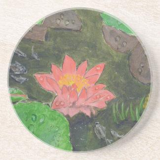 Acryl auf Leinwand, rosa Wasserlilie und Untersetzer