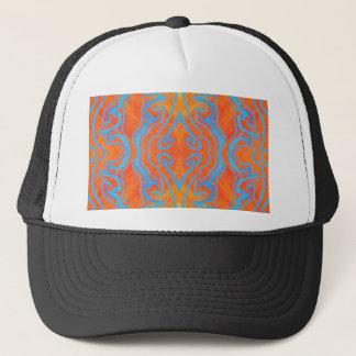 Acryllic abstraktes orange und blaues Trippy Truckerkappe