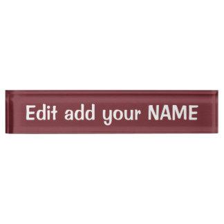 Acrylschreibtisch-Nummernschild NAME, Titel,