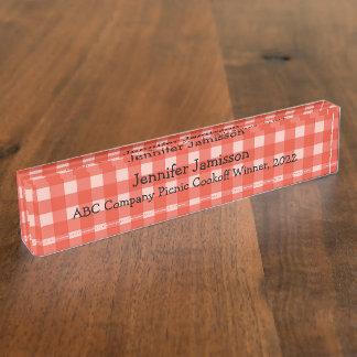 Acrylschreibtisch-Nummernschild, Rot und Weiß Namensplakette