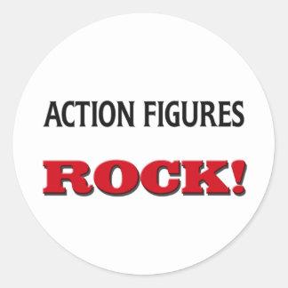 Action-Figur-Felsen Runder Aufkleber
