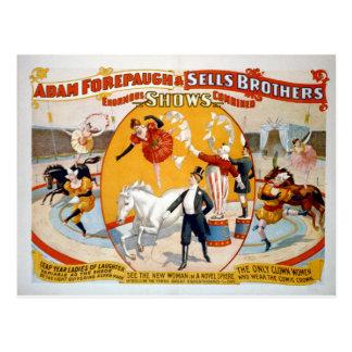 Adam Forepaugh u. Verkaufs-Brüder Postkarte