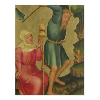 Adam und Eve bei der Arbeit Postkarte