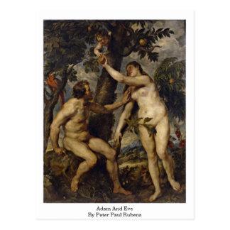 Adam und Eve durch Peter Paul Rubens Postkarte