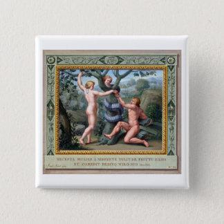 Adam und Eve mit der Schlange, Illustration von t Quadratischer Button 5,1 Cm