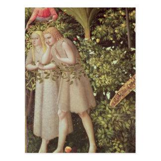 Adam und Eve weggetrieben vom Paradies Postkarte