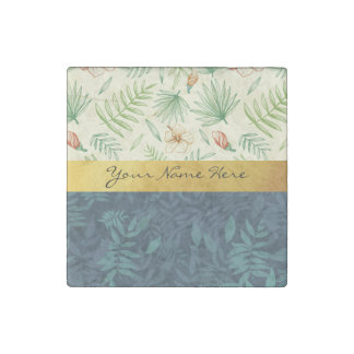 Addieren Sie einfach Ihre Namens| Hibiskus-Blume Steinmagnet