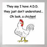 ADDIEREN Sie Huhn-Spaß Plakate