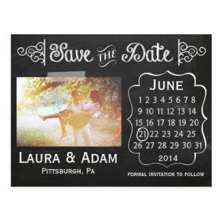 Addieren Sie Ihre eigene Foto-Tafel Save the Date Postkarte