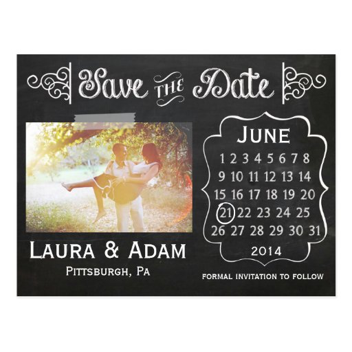 Addieren Sie Ihre eigene Foto-Tafel Save the Date Postkarten