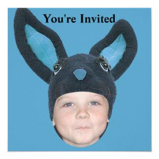 Addieren Sie Ihre Foto-blauen Häschen-Ohren Quadratische 13,3 Cm Einladungskarte
