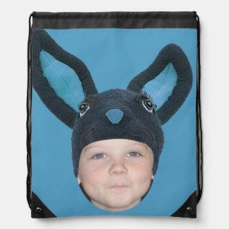 Addieren Sie Ihre Foto-blauen Häschen-Ohren Turnbeutel