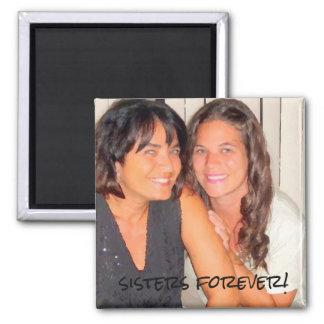 Addieren Sie Ihre Foto niedlichen Schwestern für Quadratischer Magnet