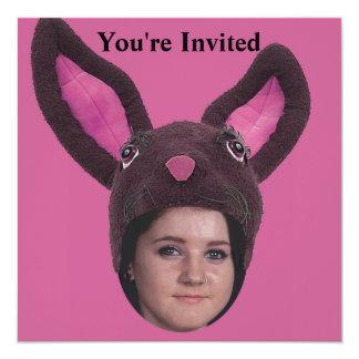 Addieren Sie Ihre Foto-Rosa-Häschen-Ohren Quadratische 13,3 Cm Einladungskarte