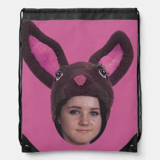 Addieren Sie Ihre Foto-Rosa-Häschen-Ohren Sportbeutel