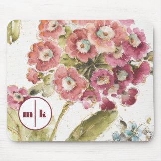 Addieren Sie Ihre rosa Primel des Monogramm-| Mousepad
