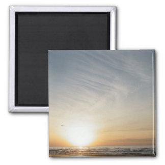Addieren Sie Ihre Text-Strand-Sonnenaufgang-Feier Quadratischer Magnet