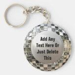 Addieren Sie Ihren Text-coolen Disco-Spiegel-Ball  Standard Runder Schlüsselanhänger