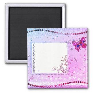 Addieren Sie Ihren Text-rosa und lila Magneten Quadratischer Magnet