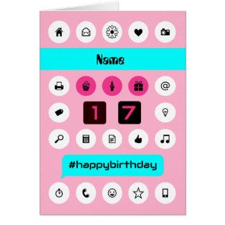 Addieren Sie Name 17. hashtag Geburtstag Karte