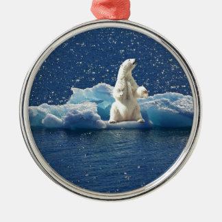 Addieren Sie SLOGAN, um polaren Bären arktisches Silbernes Ornament