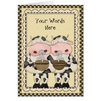 Addieren Sie Wort-Kaffee-Kuhgrußkarte Karte
