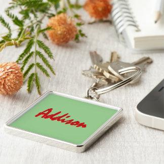 Addison erstklassiges silbriges Keychain Schlüsselanhänger