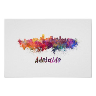 Adelaide skyline im Watercolor Poster