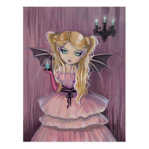Adeline in der rosa gotischen Vampirs-Fee-Postkart Postkarte