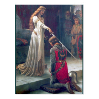 Adelnde antike Malerei des Ritters Damenkönigin Postkarte