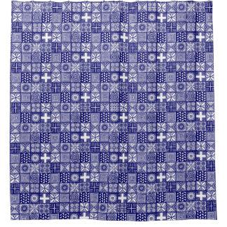 Adire Muster - tief Blau und Weiß Duschvorhang