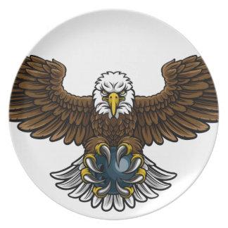 Adler-Bowlings-Sport-Maskottchen Teller