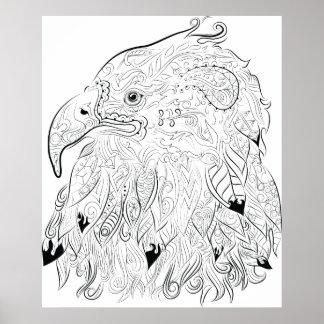 Adler, der erwachsenes Farbtonplakat zeichnet Poster